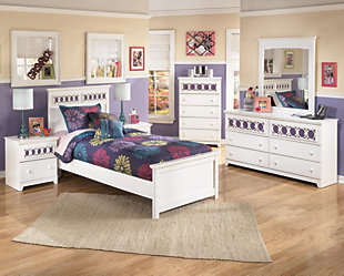 Zayley Twin Panel Bed, White, large
