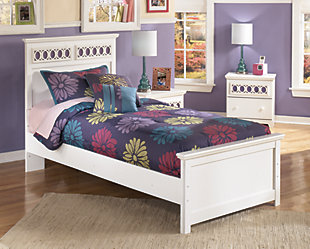 Zayley Twin Panel Bed, White, rollover