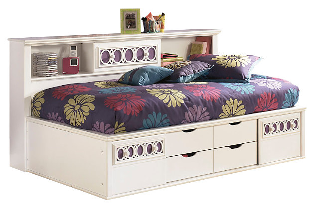 Zayley Twin Bookcase Bed White Large