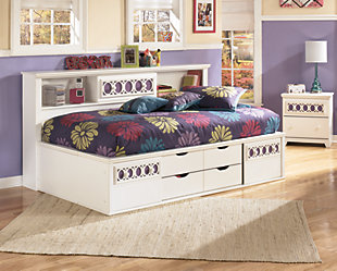 Zayley Twin Bookcase Bed, White, rollover