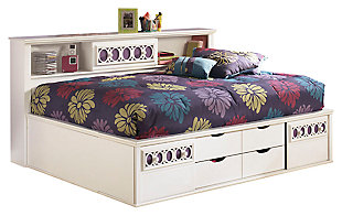 Zayley Full Bookcase Bed, White, large