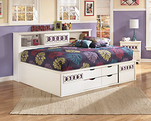 Zayley Full Bookcase Bed, White, rollover