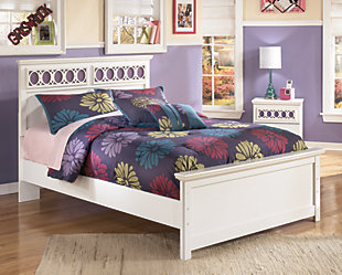 Zayley Full Panel Bed, White, rollover