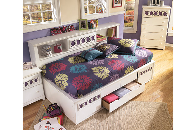 bookcase headboard with sliding door storage and under bed drawers on this  twin bedroom set - Zayley Twin Bookcase Bed Ashley Furniture HomeStore