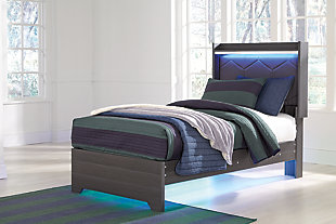 Annikus Twin Upholstered Panel Bed, Gray, rollover