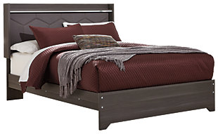 Annikus Queen Upholstered Panel Bed, Gray, large