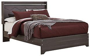 Annikus Queen Upholstered Panel Bed, Gray, large