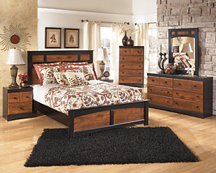 Aimwell Queen Panel Bed, Dark Brown, large