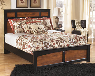 Aimwell Queen Panel Bed, Dark Brown, rollover