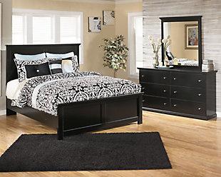 Maribel Queen Panel Bed with Mirrored Dresser, , large