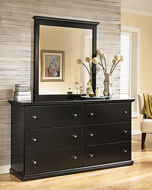 Maribel Dresser and Mirror, Black, rollover