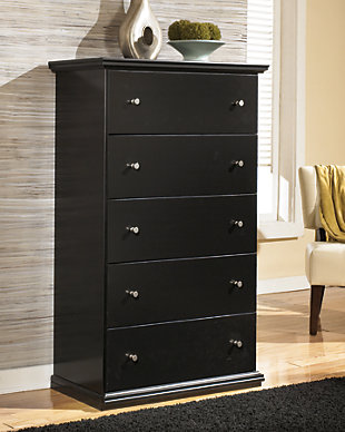 Enhance Your Bedroom With A Black Wooden Chest With Five Drawers And Pewter  Colored Knobs