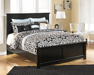 Maribel Queen Panel Bed, Black, large