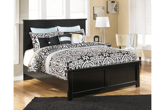 beautiful cottage style solid black queen bed with panel headboard and footboard - Queen Bed Frame Black
