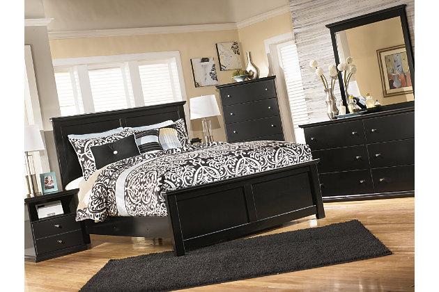 Maribel King Panel Bed, Black, large