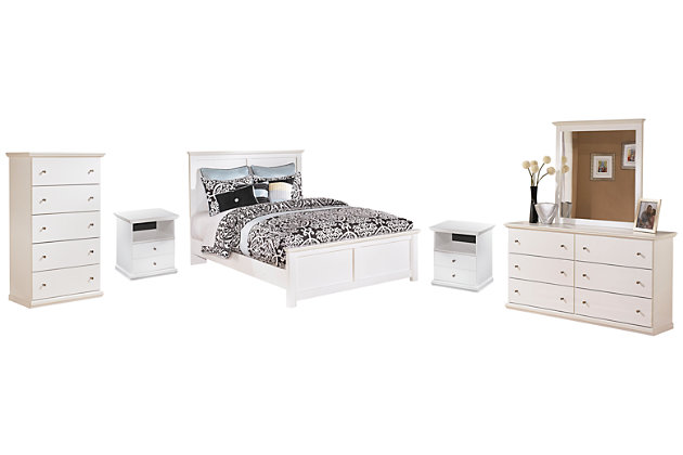 Bostwick Shoals Queen Panel Bed with Mirrored Dresser, Chest and 2 Nightstands, , large