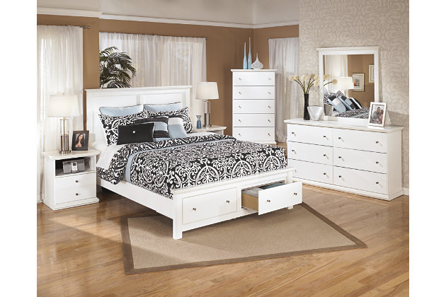 these white queen beds have storage footboards paired with white dressers  adorned with silver knobs. Bostwick Shoals Queen Storage Bed   Ashley Furniture HomeStore