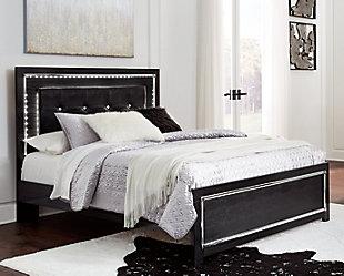 Kaydell Queen Upholstered Panel Bed, Black, rollover