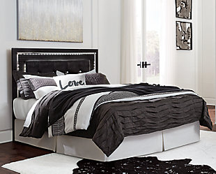 Kaydell Queen Upholstered Panel Headboard, Black, rollover