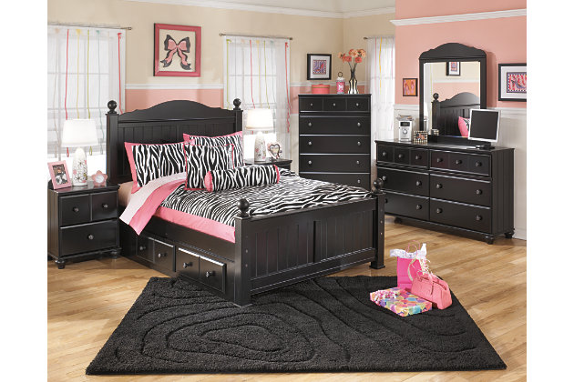 Jaidyn Full Poster Bed with 2 Storages, Black, large