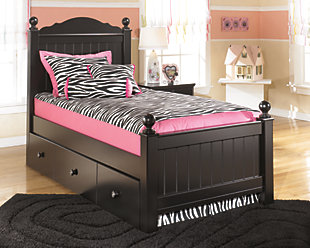 Jaidyn Twin Poster Bed with Trundle, Black, large