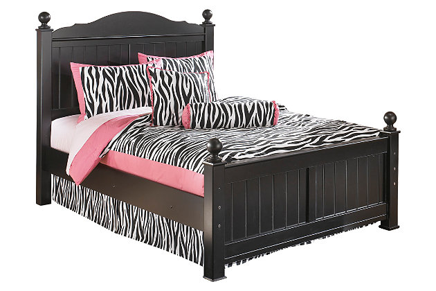 Jaidyn Full Poster Bed, Black, large