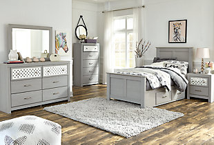 Arcella Twin Panel Bed with Storage, Gray, large