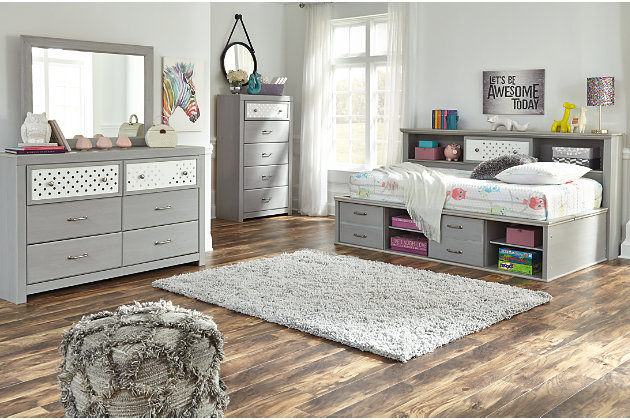 Arcella Twin Bookcase Bed, Gray, large