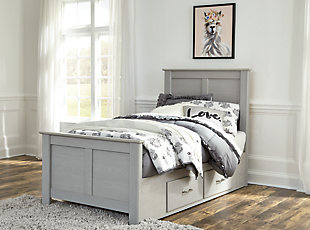 Arcella Twin Panel Bed with Storage, Gray, rollover