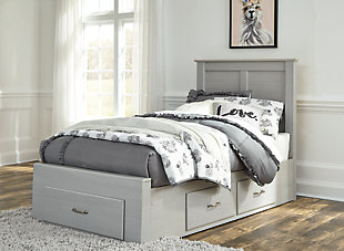 Arcella Twin Storage Bed, Gray, rollover