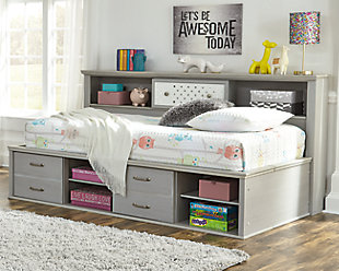 Arcella Twin Bookcase Bed, Gray, rollover