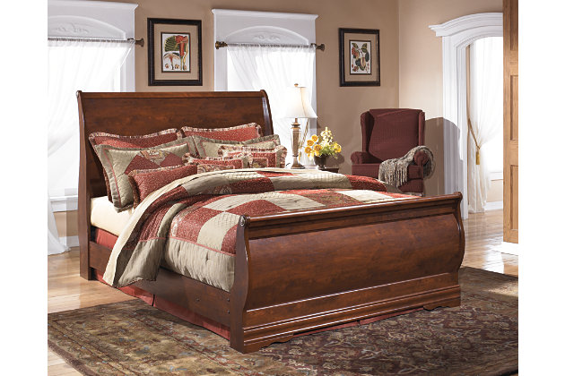 classic curved sleigh queen bed in cherry wood finish - Sleigh Bed Frame Queen