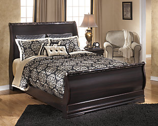 Esmarelda Queen Sleigh Bed, Dark Merlot, large