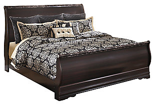 Esmarelda King Sleigh Bed, Dark Merlot, large