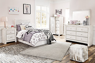 Paxberry Twin Panel Bed with Mirrored Dresser, , rollover