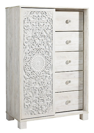 Paxberry Twin Panel Bed with Mirrored Dresser and Chest, Whitewash, large
