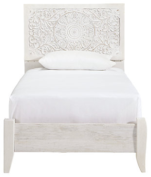 Paxberry Twin Panel Bed, Whitewash, large