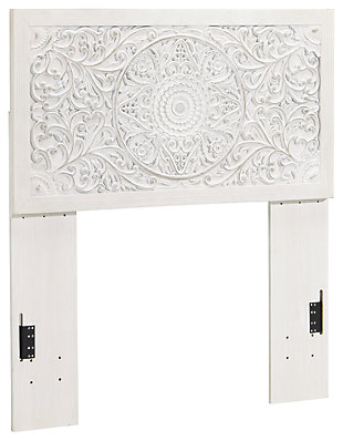 Paxberry Twin Panel Headboard, Whitewash, large