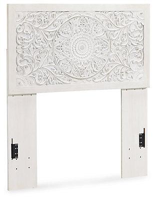 Paxberry Twin Panel Headboard, Whitewash, large