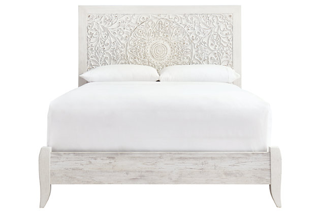 Paxberry Queen Panel Bed, Whitewash, large