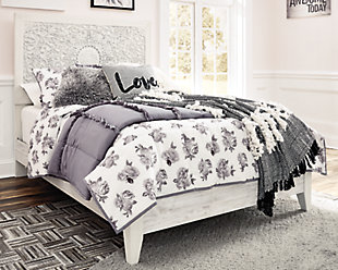 Paxberry Twin Panel Bed, Whitewash, rollover