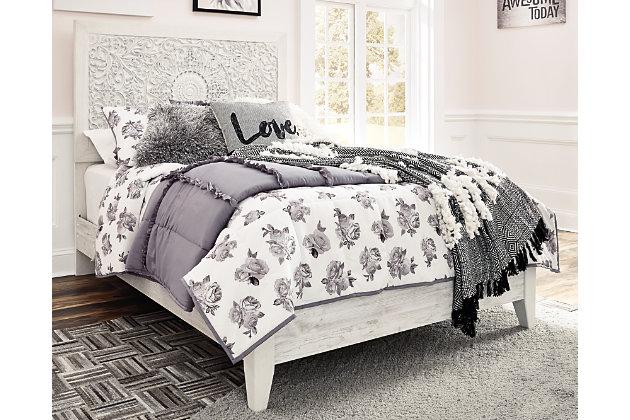 Paxberry Full Panel Bed, Whitewash, large