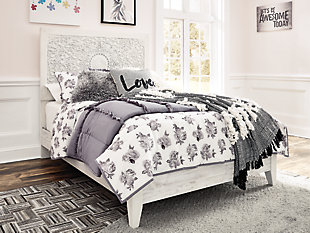 Paxberry Twin Panel Bed, White Wash, rollover