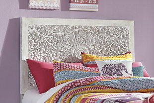 Paxberry Twin Panel Headboard, Whitewash, rollover