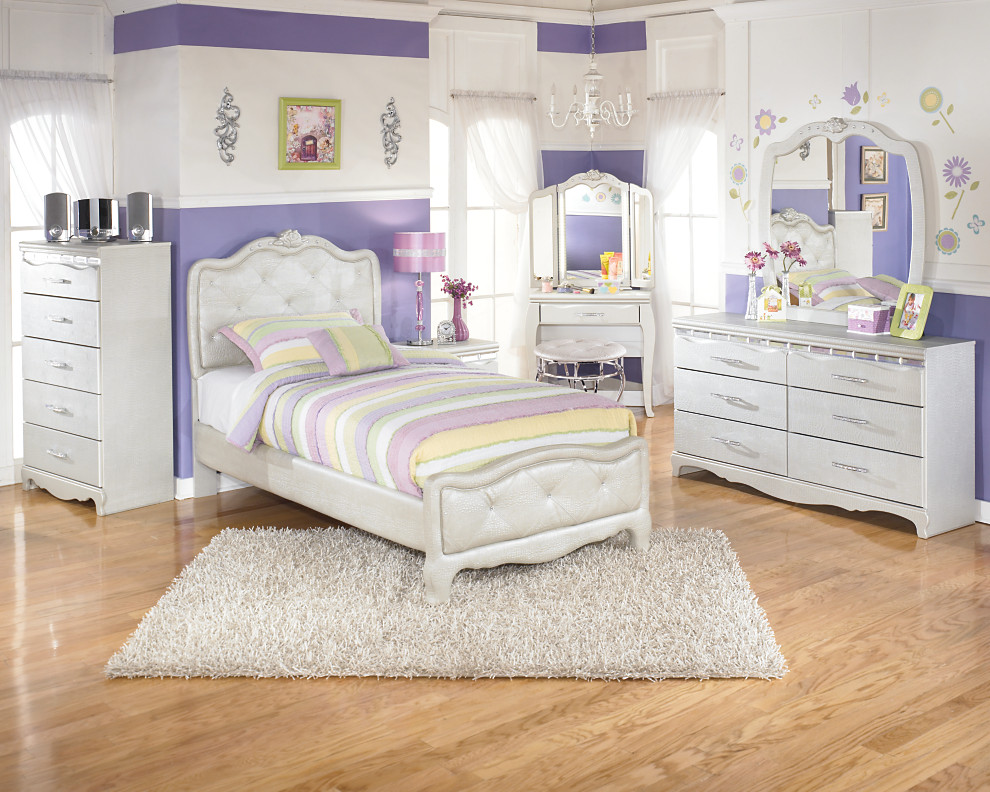 Tufted Satiny Fabric And Crystal Accents Adorn This Twin Kids Bedroom Set  Includes Vanity