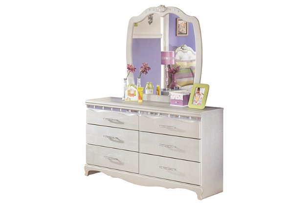 Zarollina 2-Piece Dresser and Mirror, Silver, large