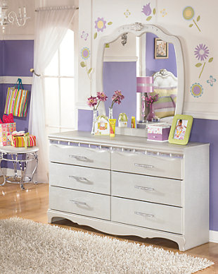 Zarollina 2-Piece Dresser and Mirror, Silver, rollover