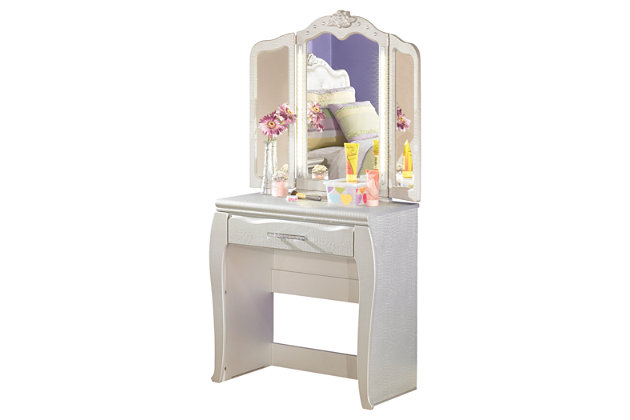 Silver Zarollina Vanity and Mirror by Ashley HomeStore