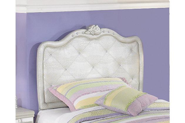 Zarollina Twin Upholstered Headboard, Silver, large