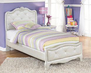 Zarollina 2-Piece Twin Upholstered Bed, Silver, rollover